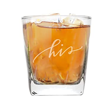 My Personal Memories His and Her Beer Pint, Stemless Wine, Whiskey Rocks Glasses - Bride and Groom Barware Wedding, Couples (Square Rocks Glass 9oz, His Script)