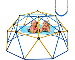 Jugader Upgraded 10FT Climbing Dome with Canopy and Swing, Dome Climber for Kids 3 - 10, Weight Capability 800LBS, 3-Year War
