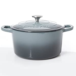 Crock Pot 69146.02 Artisan 7 Quart Enameled Cast Iron Oval Dutch Oven, Slate Gray