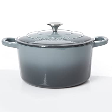 Crock Pot 69146.02 Artisan 7 Quart Enameled Cast Iron Oval Dutch Oven, Slate Gray
