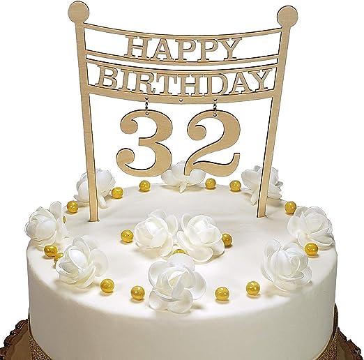 Strange Amazon Com Happy Birthday Cake Topper Baltic Birch Wood Number Funny Birthday Cards Online Necthendildamsfinfo