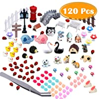 Paxcoo 120 Pcs Fairy Garden Miniature Ornaments Kit for DIY Dollhouse Décor