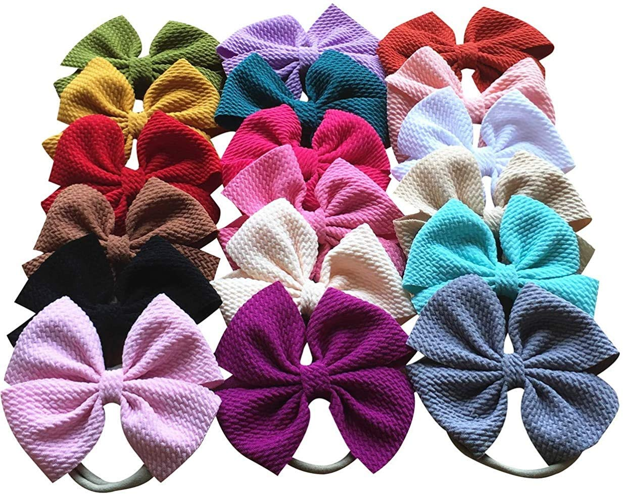 Set of 3 fabric bow baby headbands  baby and toddler bow headband  baby shower gift
