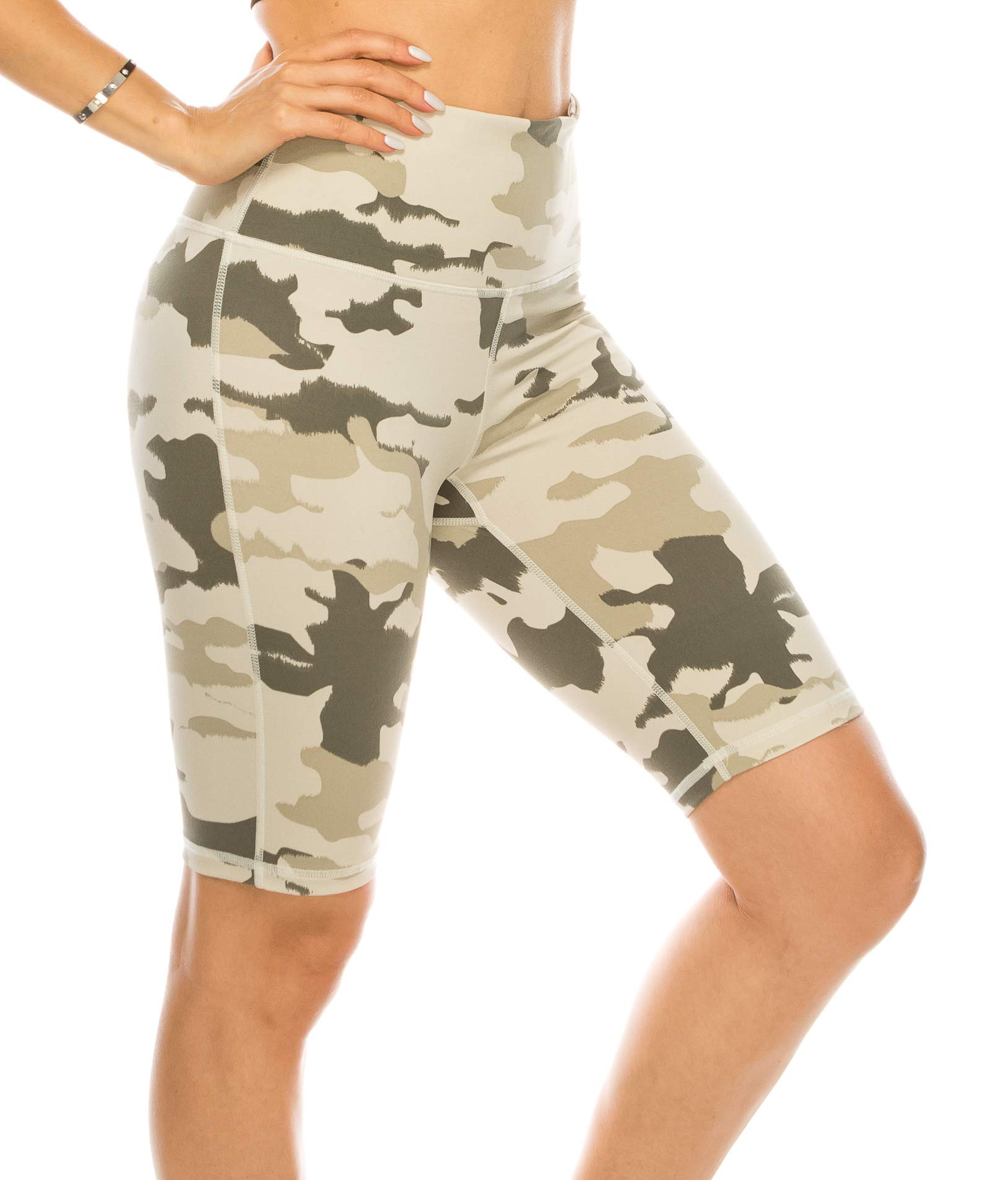 CNC STYLE B014 Women's Knee Length Stretchy Camo Print Biker Shorts Leggings High Waisted Bermuda Tights, Camo, Small by CNC STYLE