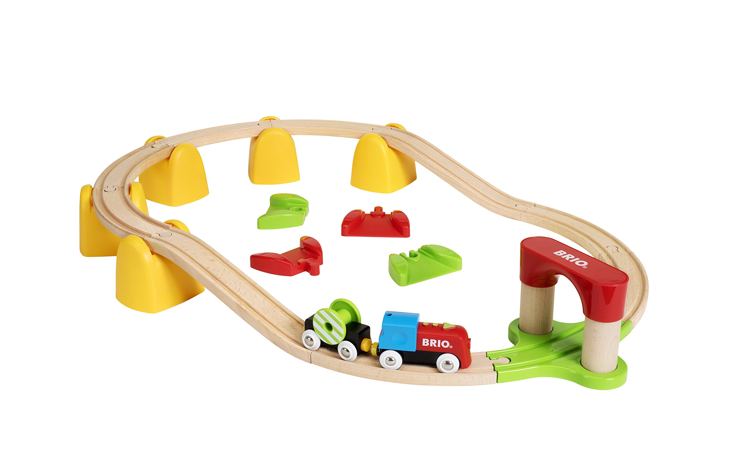 BRIO World - 33710 My First Railway Battery Operated Train Set   25 Piece Train Toy with Accessories and Wooden Tracks for Kids Ages 18 Months and Up