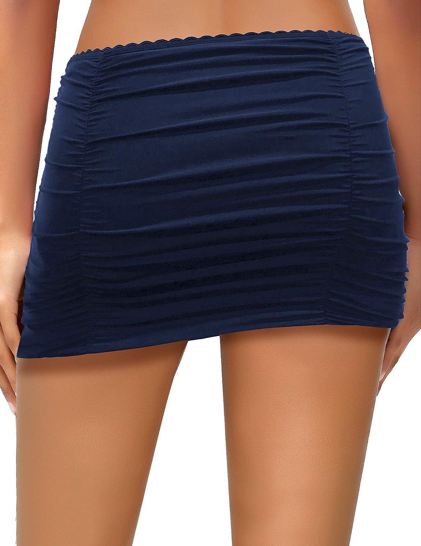 cdc5d4d9bab61 Amazon.com: LookbookStore Women's Scalloped Ruched Bikini Tankini Swim  Bottom Skirted Swimsuit: Clothing