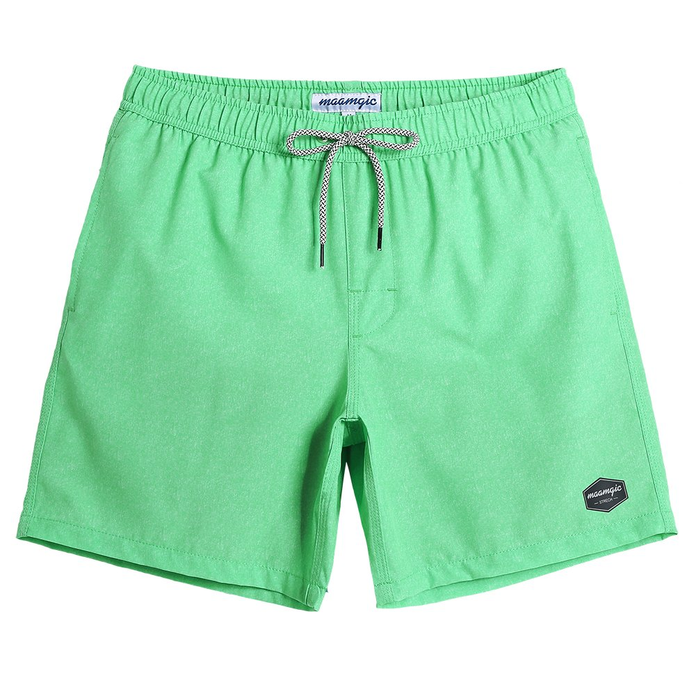 MaaMgic Mens Quick Dry Solid Swim Trunks With Mesh Lining Swimwear Bathing Suits 181118529, Green, Large(Waist-31''-33'')