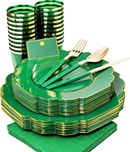 Nervure 140PCS St Patrick's Day Decors Gold Plastic Plates with Gold Rim&Green Plastic Silverware Set:20 Dinner Plates-20 Dessert Plates-20 Cups-20 Forks-20 Knives-20 Spoons-20 Napkins