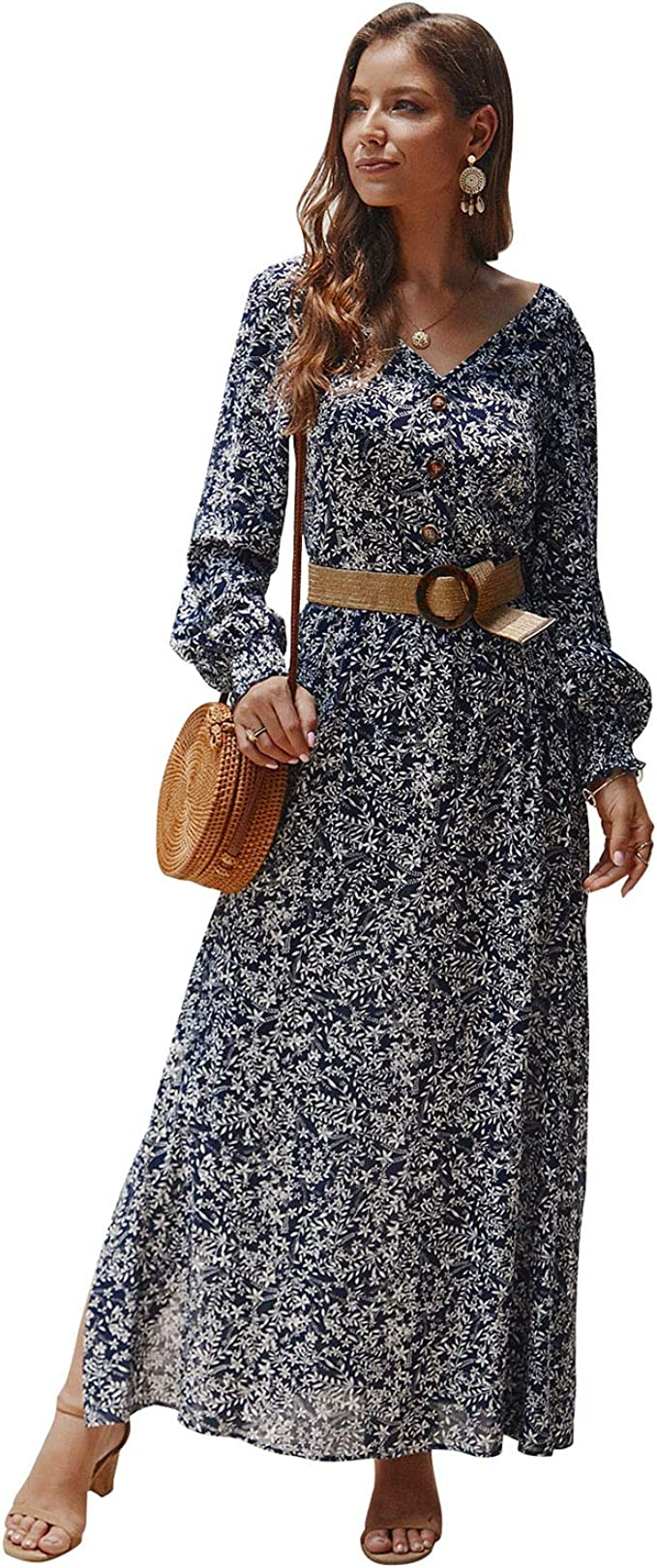 New Feeling Womens Dress 3//4 Sleeve Wrap V-Neck Floral Printed Maxi Long Dress with Sash