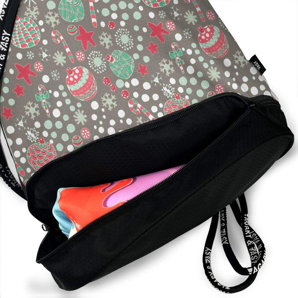 Drawstring Backpack Christmas Baubles Rucksack