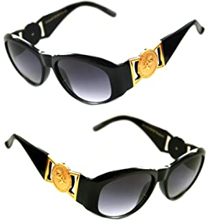 45b41d6319b5 Men s Hip Hop Metal Gold Coin Logo 413 Medium Sunglasses Vintage Style  Biggie 852