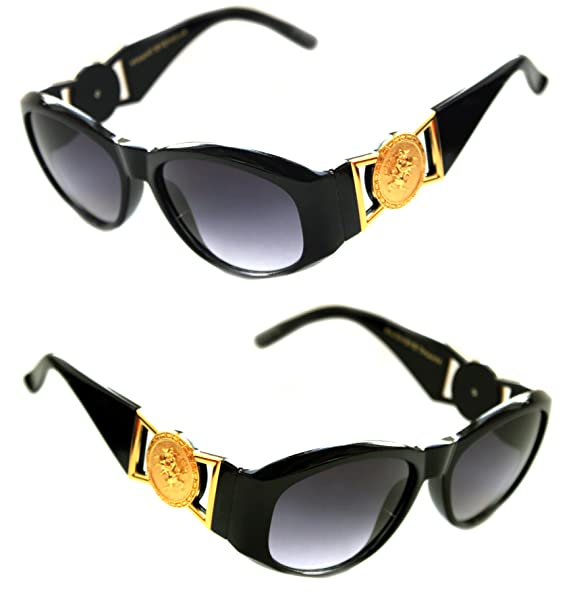 cef4ebb3983 Men s Hip Hop Metal Gold Coin Logo 413 Medium Sunglasses Vintage Style  Biggie 852 (Black