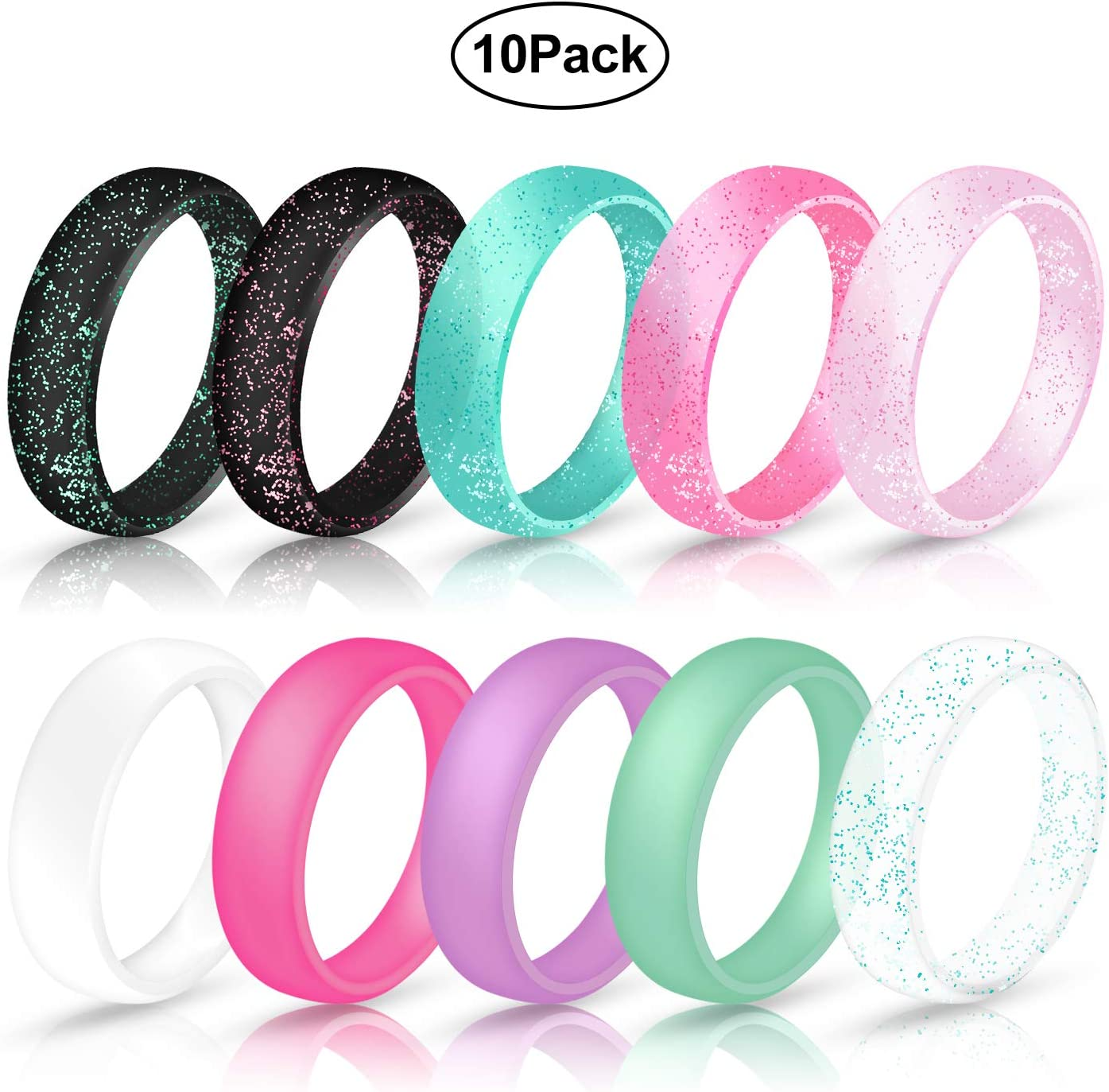 5.7mm Wide Size 4 5 6 7 8 9 10-10 Pack Ninge Width Silicone Wedding Rings for Women,Glitter Blingbling Design,Rubber Wedding Engagement Bands Stackable Rings