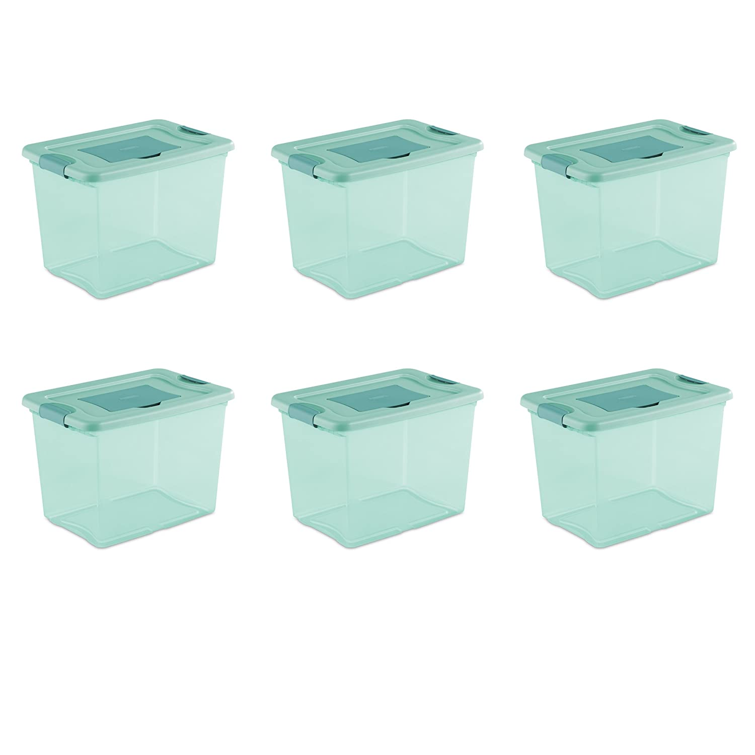 Sterilite 15057Y06 25 Qt, 24L Fresh Scent Box, Aqua Tent base with Aqua Chrome Lid & Teal Splash Latches, 6-Pack