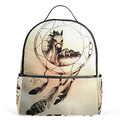 JSTEL Dream Catchers Horse School Backpacks for Boys Girls Bookbag