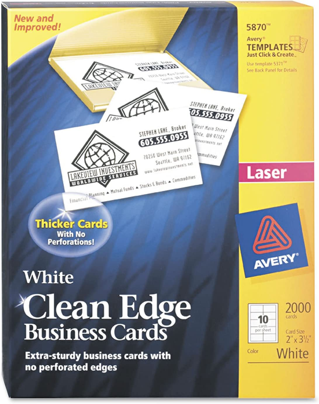 Avery Printable Business Cards, Laser Printers, 2,000 Cards, 2 x 3.5, Clean Edge (5870), White
