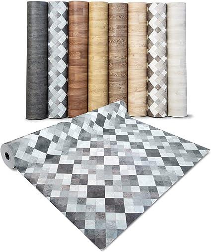 Copri Pavimento Vinilico a Rotolo 100x350 cm Mosaico sabbia Pavimento PVC Adesivo Parquet Rivestimento Pavimento Finto Legno Su Misura