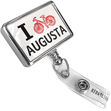 Retractable ID Badge Reel I Love Cycling City Augusta With Bulldog Belt  Clip On Holder Neonblond