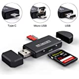WRX SDメモリーカードリーダー USB2.0マルチカードリーダー 小型軽量 変換アダプタ 三合一 多機能 SD OTG/Micro SDカード両対応 Type-C/Micro usb/USB接続 Windows/New Macbook/Huawei/Xperia/ASUS/Samsung/Androidなどの機種に対応 (USB 2.0 Type C Card Reader)