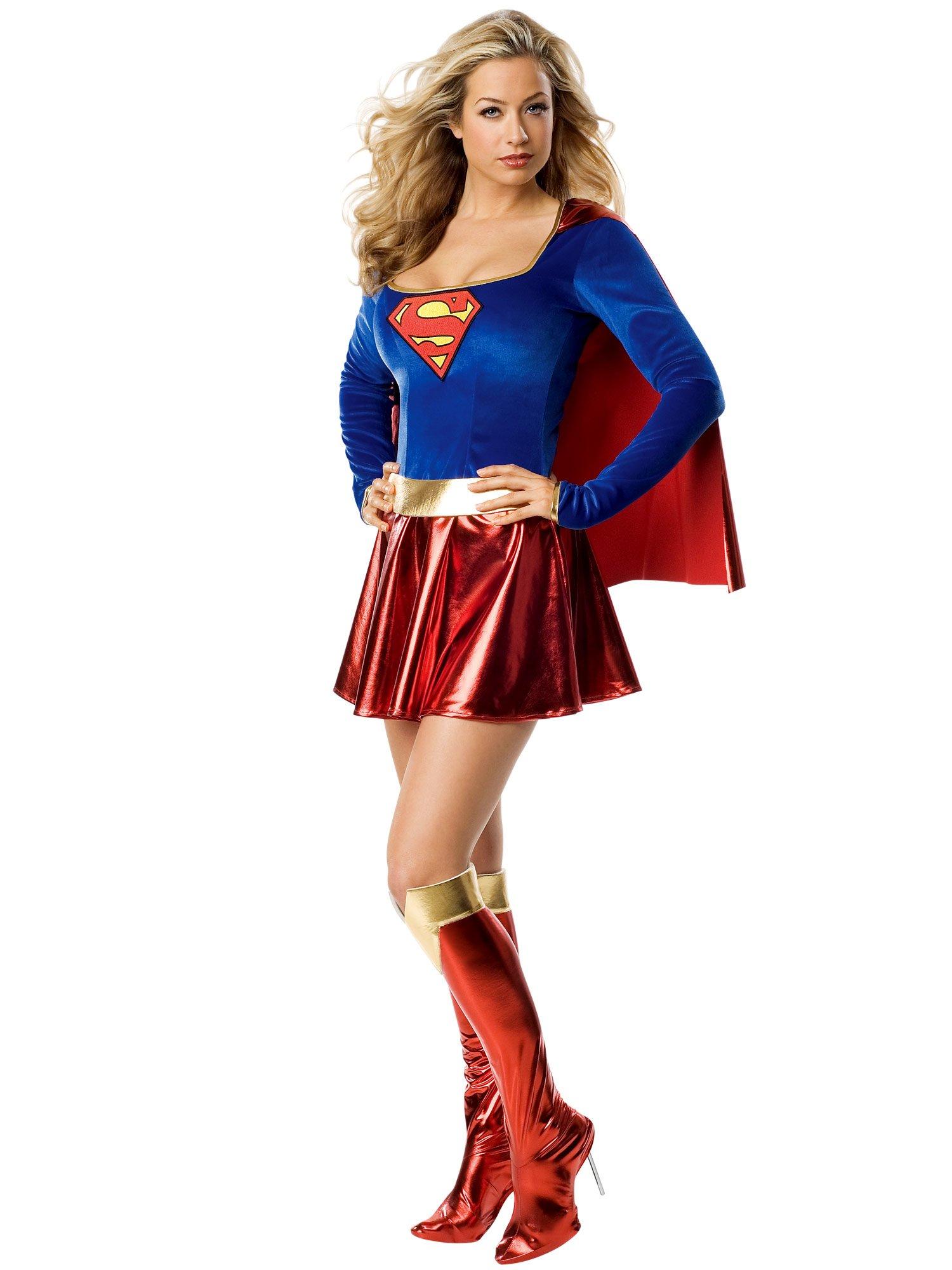 Secret Wishes Women's Adult Supergirl Costume, Blue/Red, Medium