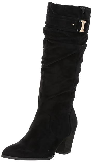 Dr. Scholl's Women's Devote Riding Boot, Black Microfiber ...