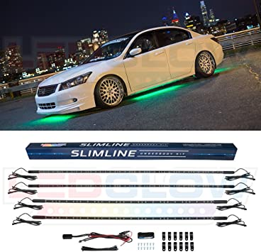 Water Resistant Wide Angle SMD LEDs LEDGlow 4pc Multi-Color Slimline LED Underbody Underglow Car Light Kit
