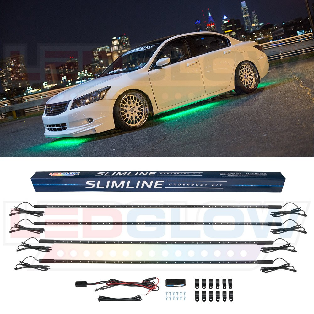 Ledglow 4pc Green Slimline Led Underbody Underglow Car Wiring Diagram Light Kit Water Resistant Wide Angle Smd Leds Automotive