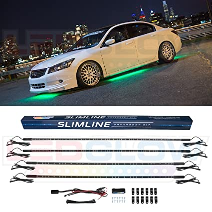ledglow 4pc green slimline led underbody underglow accent neon lighting kit for cars solid color illumination water resistant, low profile tubes RC Airplane Wiring Diagrams