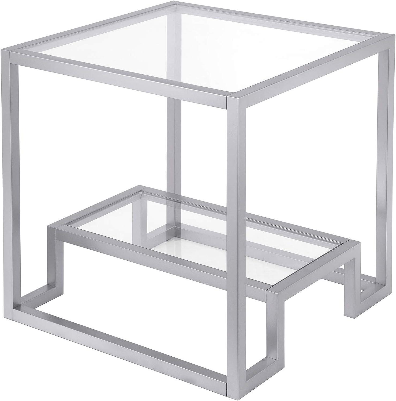 Henn&Hart Modern Geometric-Inspired Glass Side Table, 1, Silver