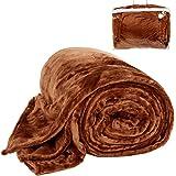 TecTake Couverture douillette Polaire microfibre 220 x 240 cm avec poche brun