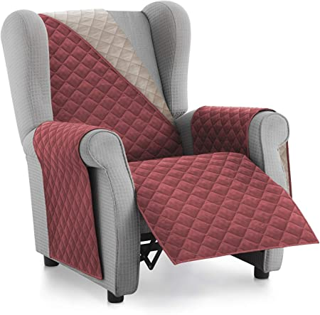 Textilhome - Funda Cubre Sofá Malu -1 Plaza - Relax - Protector para Sofás Acolchado Reversible. Color Rojo C/4: Amazon.es: Hogar