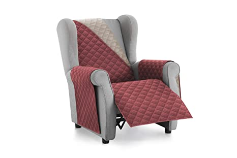 Textilhome - Funda Cubre Sofá Malu -1 Plaza - Relax - Protector para Sofás Acolchado Reversible. Color Rojo C/4