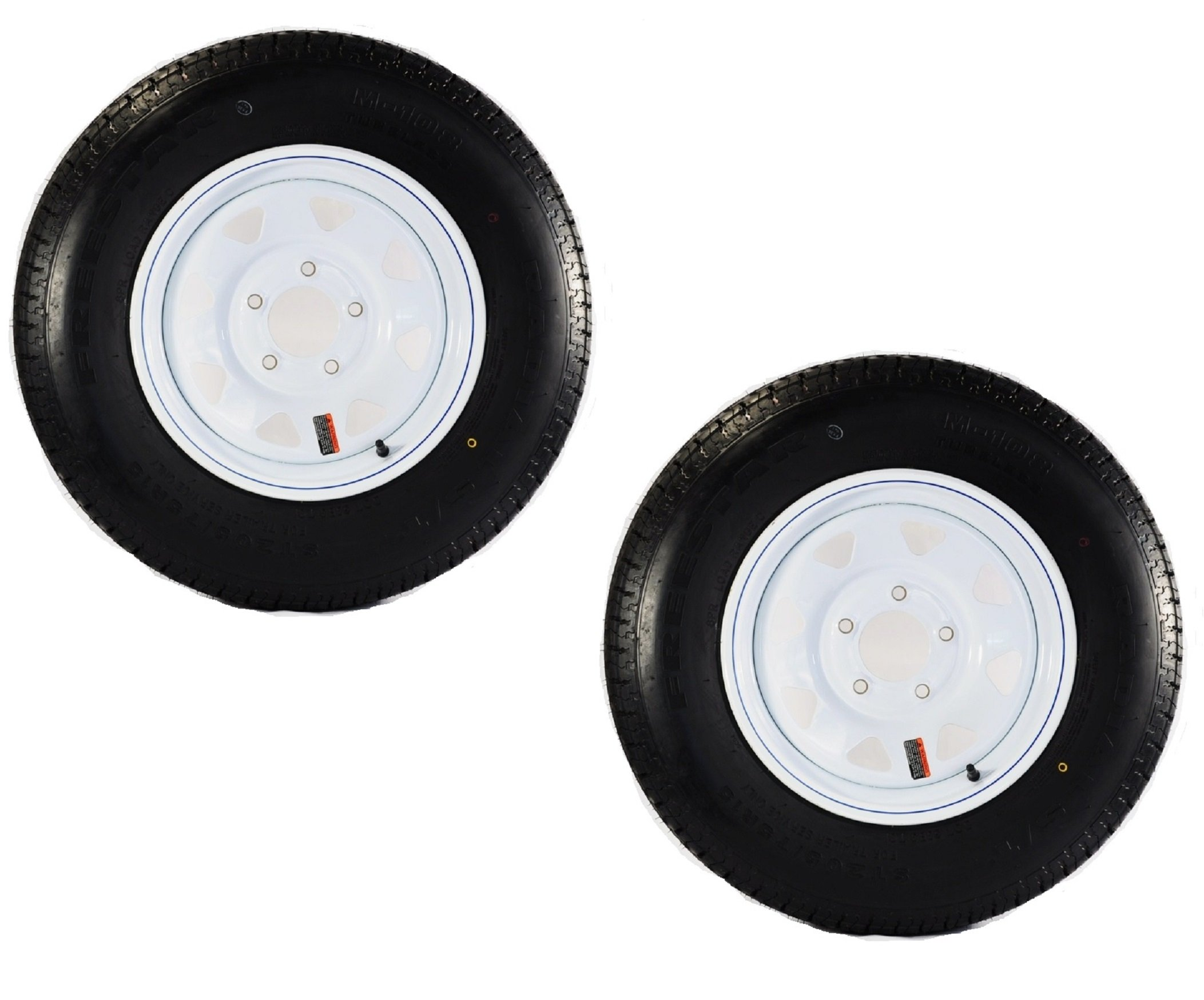Two Trailer Tires + Rims ST185/80D13 5L 13 ST White Spoke Boat Camper RV