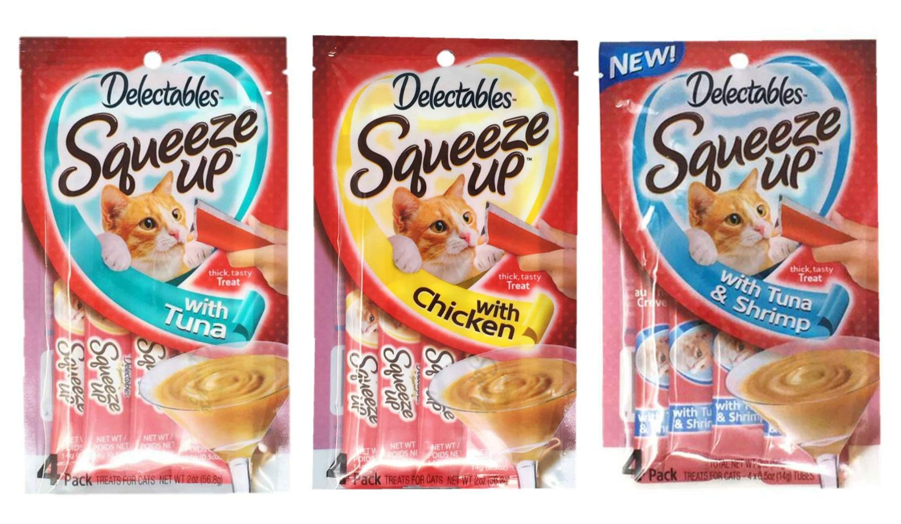 Delectables Squeeze Up Hartz Cat Treats Variety Pack Bundle of 3 Flavors (Tuna, Chicken, Tuna & Shrimp; 2.0 oz Each) by Delectables Squeeze Up