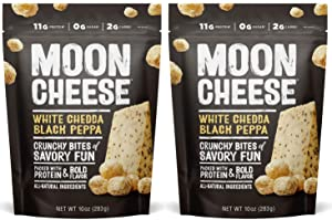 Moon Cheese White Chedda Black Peppa, 100% Cheddar Cheese Snacks, Crunchy Keto Food, Low Carb, High Protein, 10 oz (2 Pack)