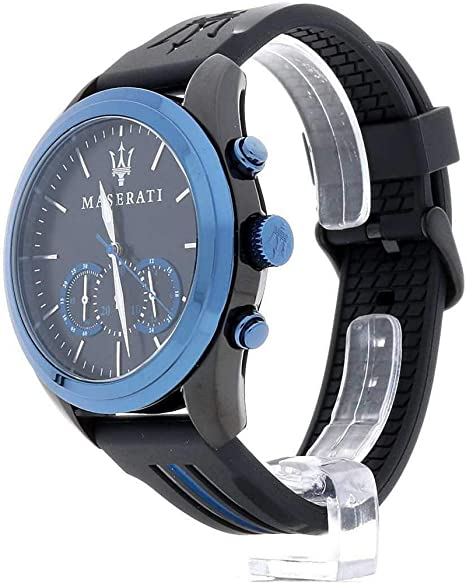 Montre Homme Maserati Traguardo Chrono Cadran Bleu Sunray bracelet Cuir Marron R8871612008