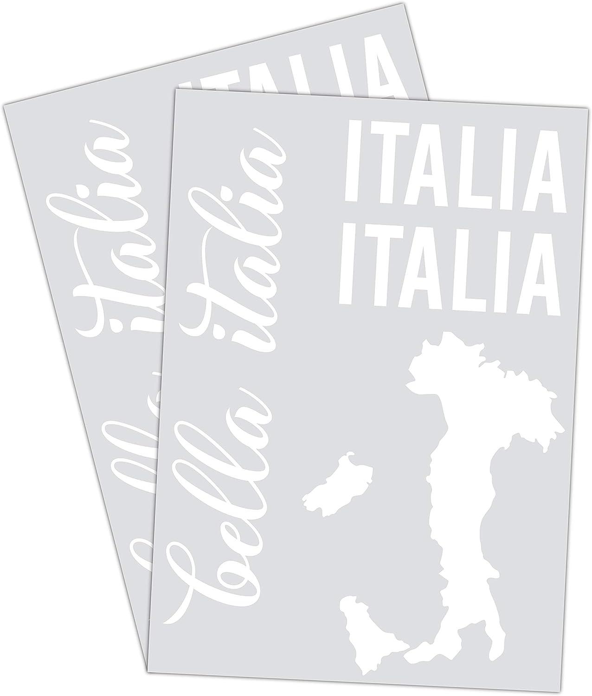 Printattack P066 Italien Flagge 2er Set Dina4 Mit Verschiedenen Motiven Italien Karte Universal Aufkleber Fahne Auto Motorrad Caravan Wohnmobil Roller Tricolore Weiß Glanz Auto