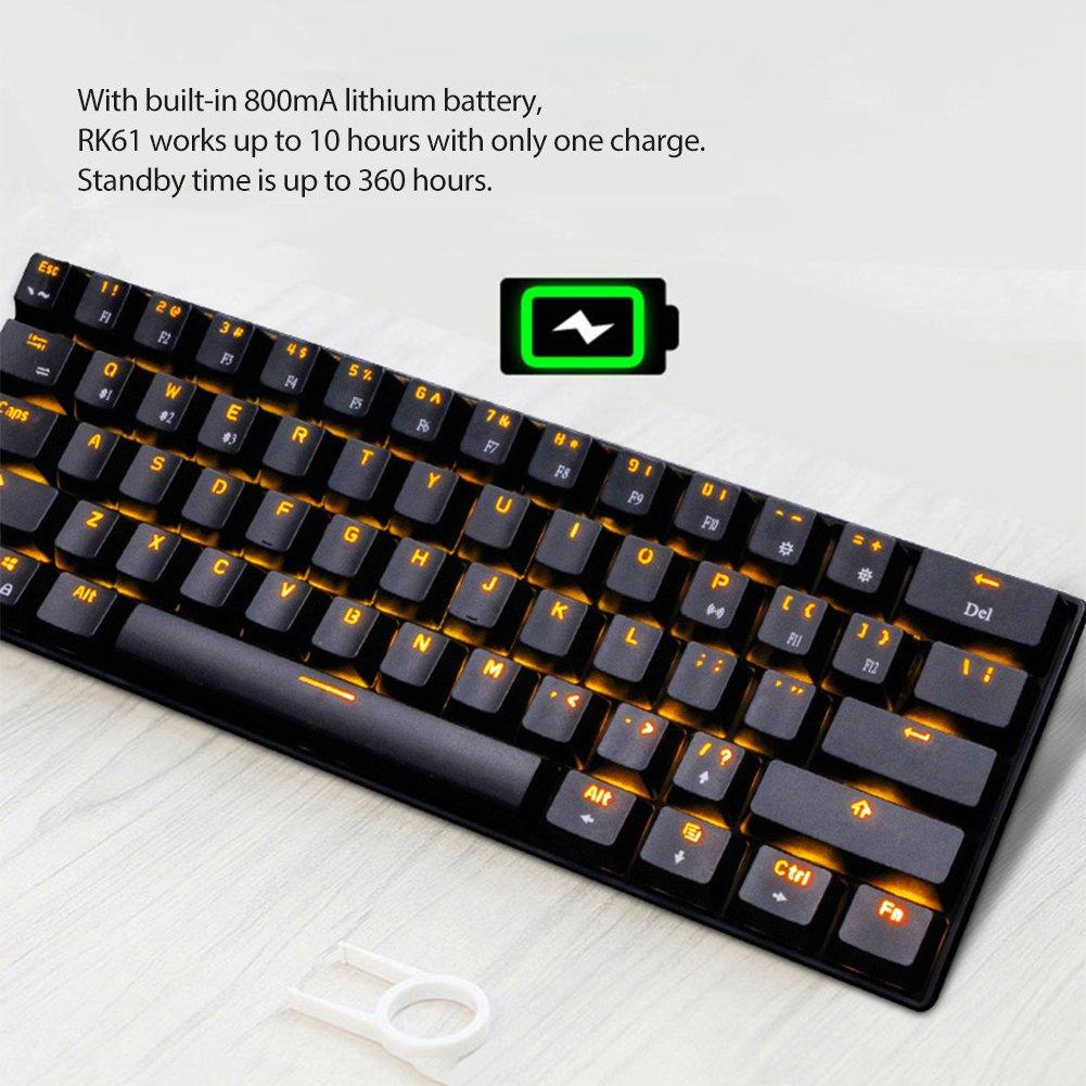 UrChoiceLtd Teclado Mecánico, rk61 con cable/inalámbrico Bluetooth teclado 61 teclas LED Impermeable Teclado para juegos con teclas Anti-Ghosting y clave ...