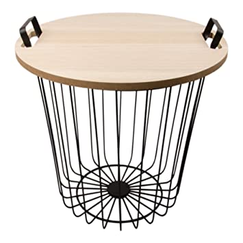 Design side table white metal wire basket with lid black 40 cm design side table white metal wire basket with lid black 40 cm metal greentooth Images