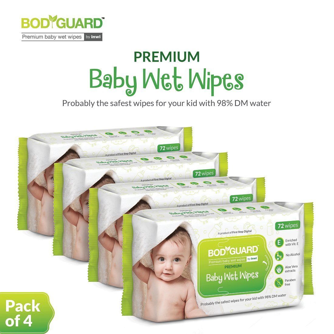 BodyGuard Premium Paraben Free Baby Wet Wipes with Aloe Vera - 288 Wipes (Pack of 4)