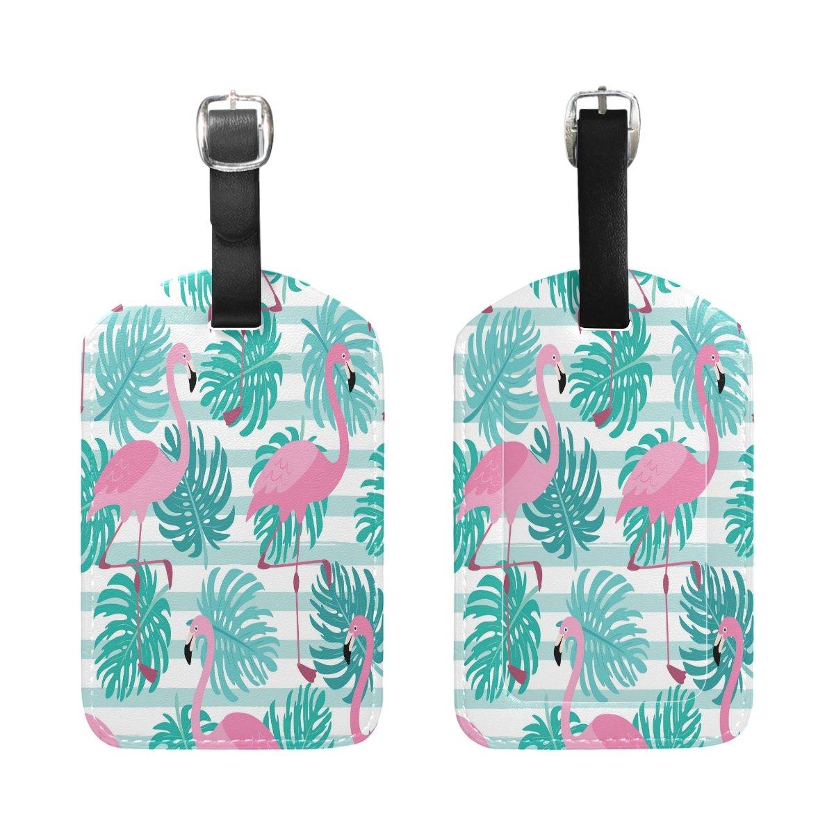 Saobao Travel Luggage Tag Flamingos PU Leather Baggage Suitcase Travel ID Bag Tag 1Pcs