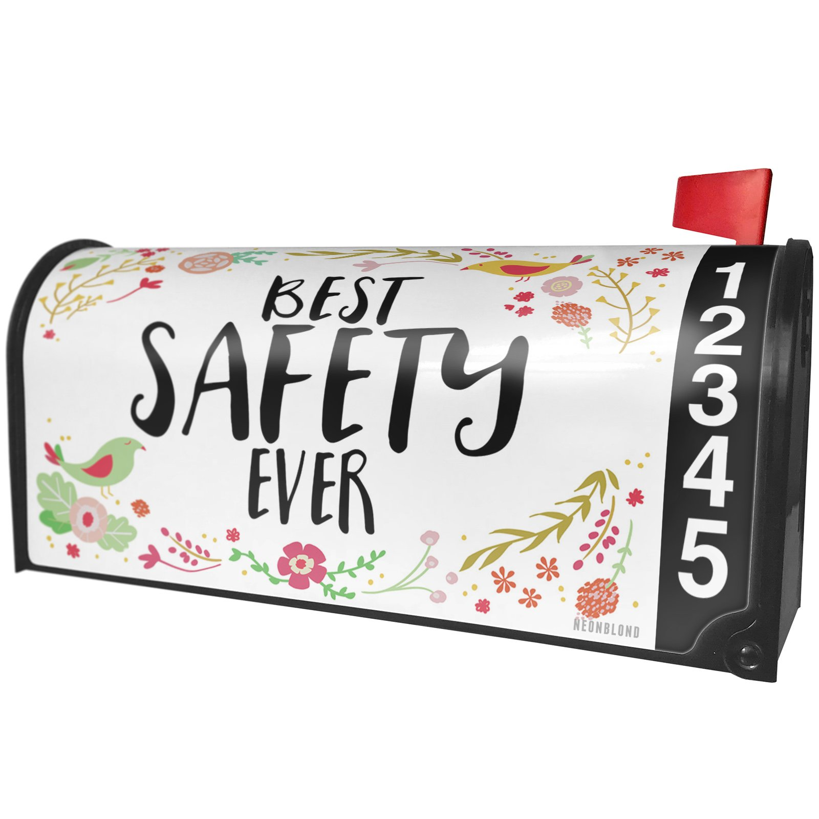 NEONBLOND Happy Floral Border Safety Magnetic Mailbox Cover Custom Numbers