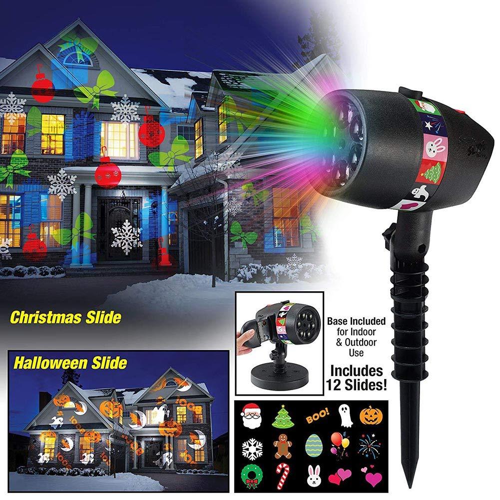 symboat Proyector LED Exterieur, proyector Star + 12 diapositivas ...