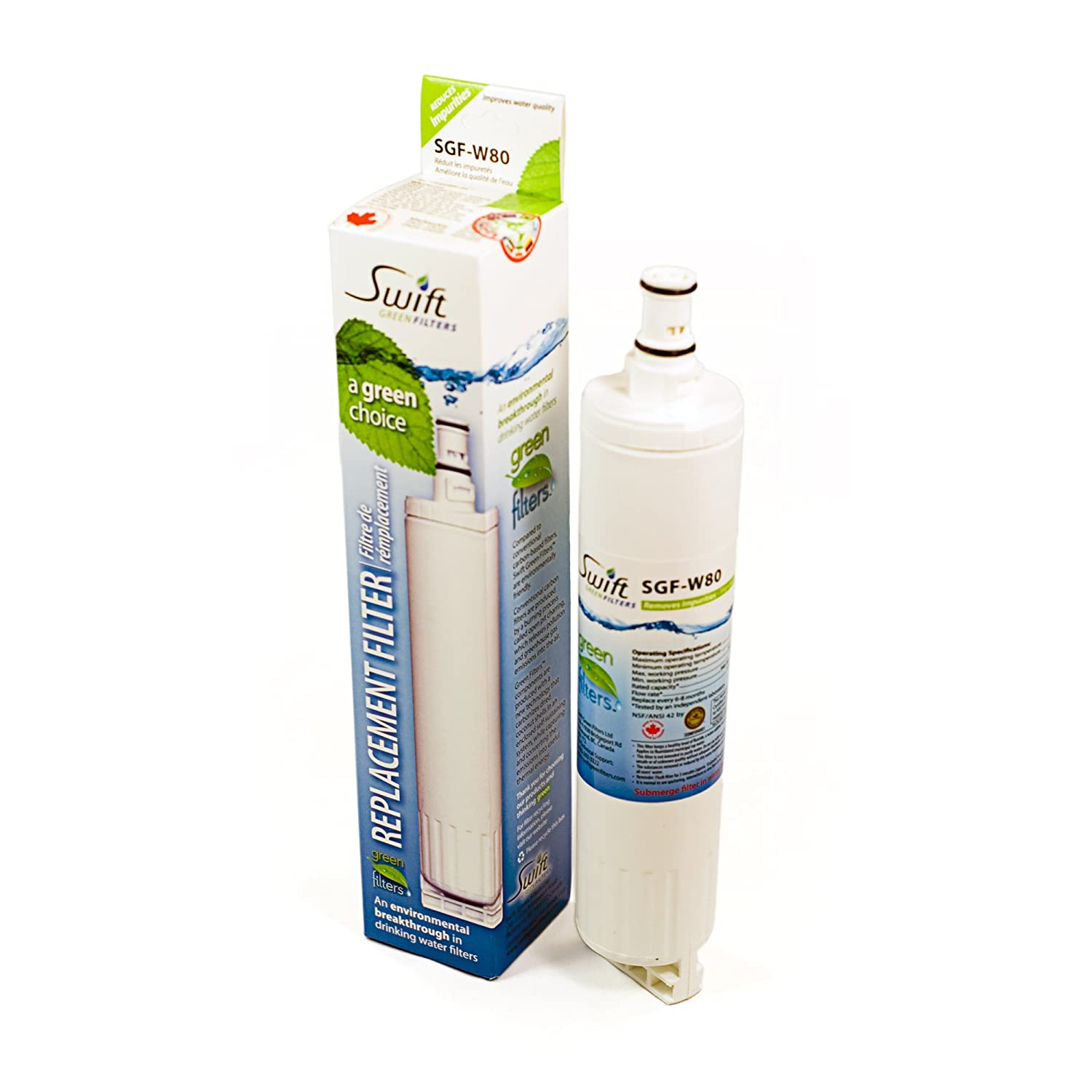 Whirlpool replacement water filter 4396508 and Canada W80 2 Pack and made in U.S.A 4396710; 439671P; WFNL300; L400; pur; wfl500; nl240; 9908; WFNL300 NL240 WFL500 WFL400V WF-300BR Pack of 2 Swift Green Filters SGF-W80 PUR 4396547 100/% recyclable