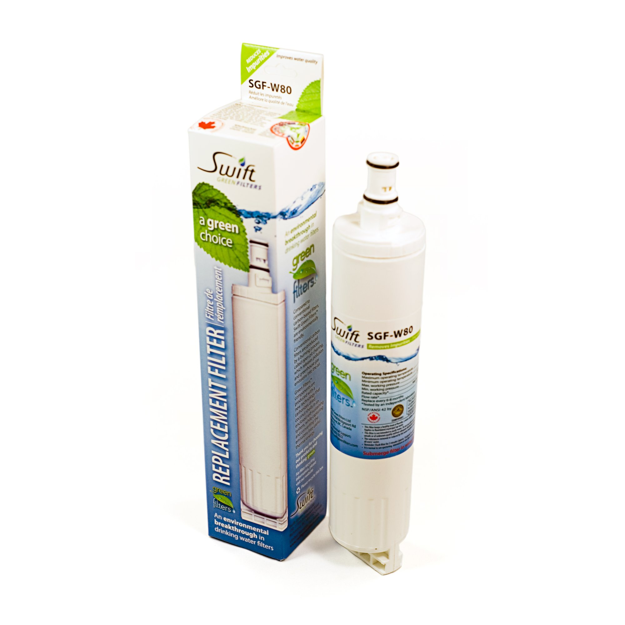 Whirlpool replacement water filter 4396508, WFNL300, NL240, WFL400V, WFL500, WF-300BR, PUR 4396547 100% recyclable, and made in U.S.A. and Canada W80, Pack of 2