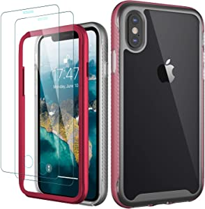 MERRO iPhone X Case with Screen Protector(2 Pack),iPhone Xs Case,Pass 16ft. Drop Tested Clear Cover with Strong Bumper Protective Phone Case for iPhone Xs/iPhone X Clear Red