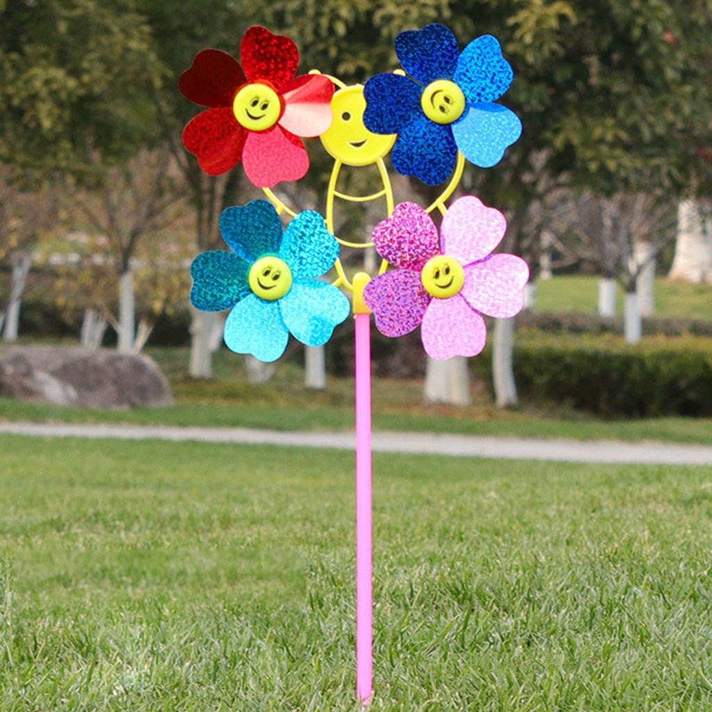 Lergo Colorful DIY Cartoon Sequins Windmill Wind Spinner Home Garden Yard Decor Kids Toy