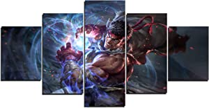 Street Fighter Ryu Art Canvas Posters Home Decor Wall Art Framework 5 Pieces Paintings for Living Room HD Prints Pictures (M,Framed)