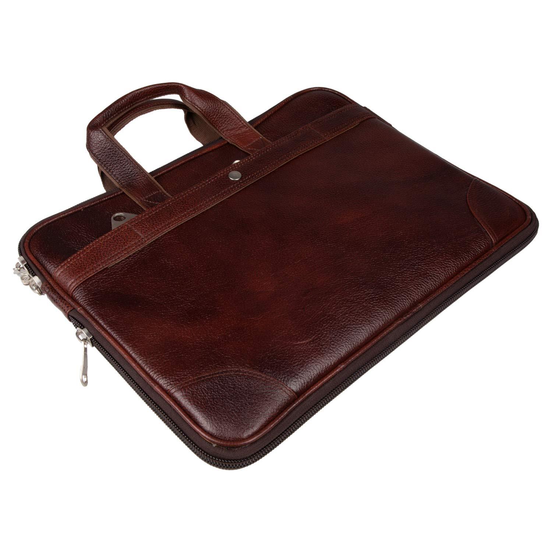 New York Leather Men Brown Designer Laptop Messenger Bag Office Bag Brown