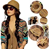 NPLE--Lady Panama Colorful Women Striped Foldable Straw Hat Beach Summer Sun